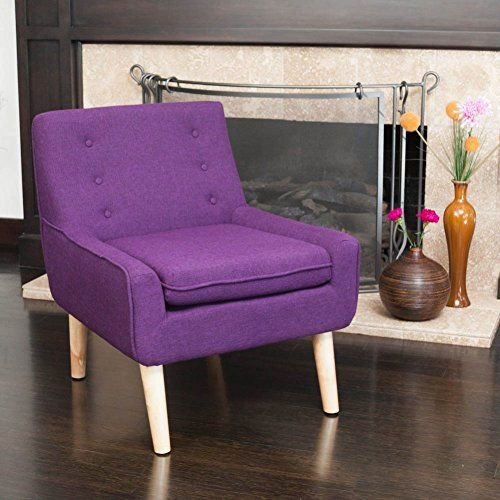 Best Set Of 2 Retro Purple Fabric Accent Chair W Button Tufted 400 x 300