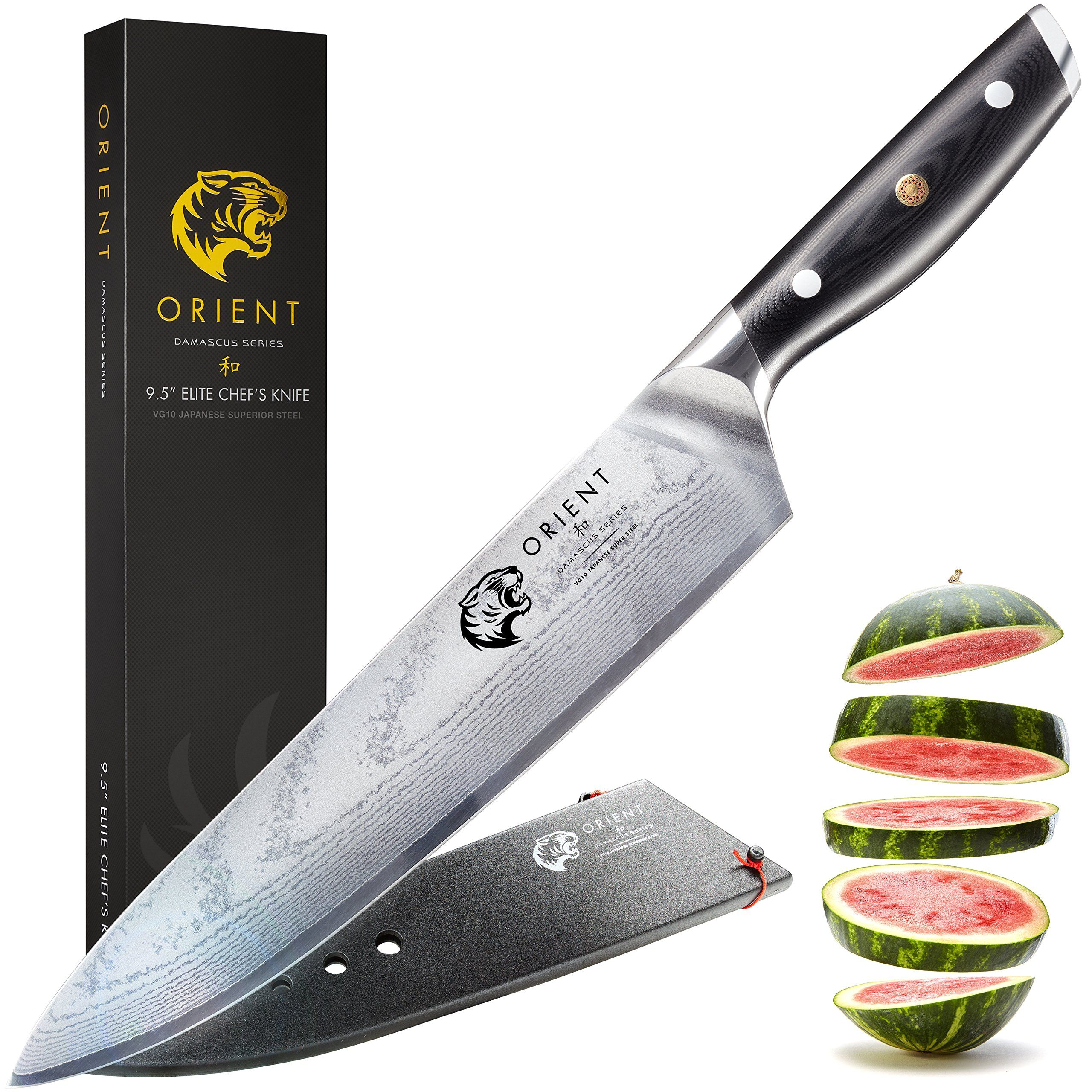 Japanese Damascus Steel 9.5 inch Chef Knife – VG10 Damascus Series ...