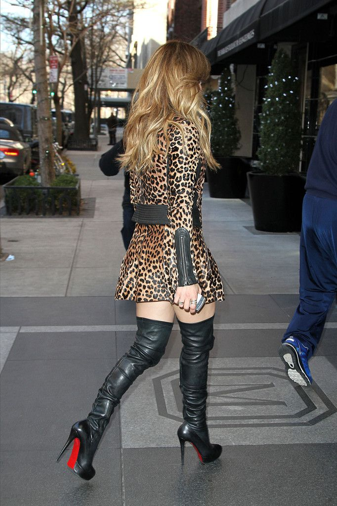 jlo in louboutin black leather thigh high boots battle