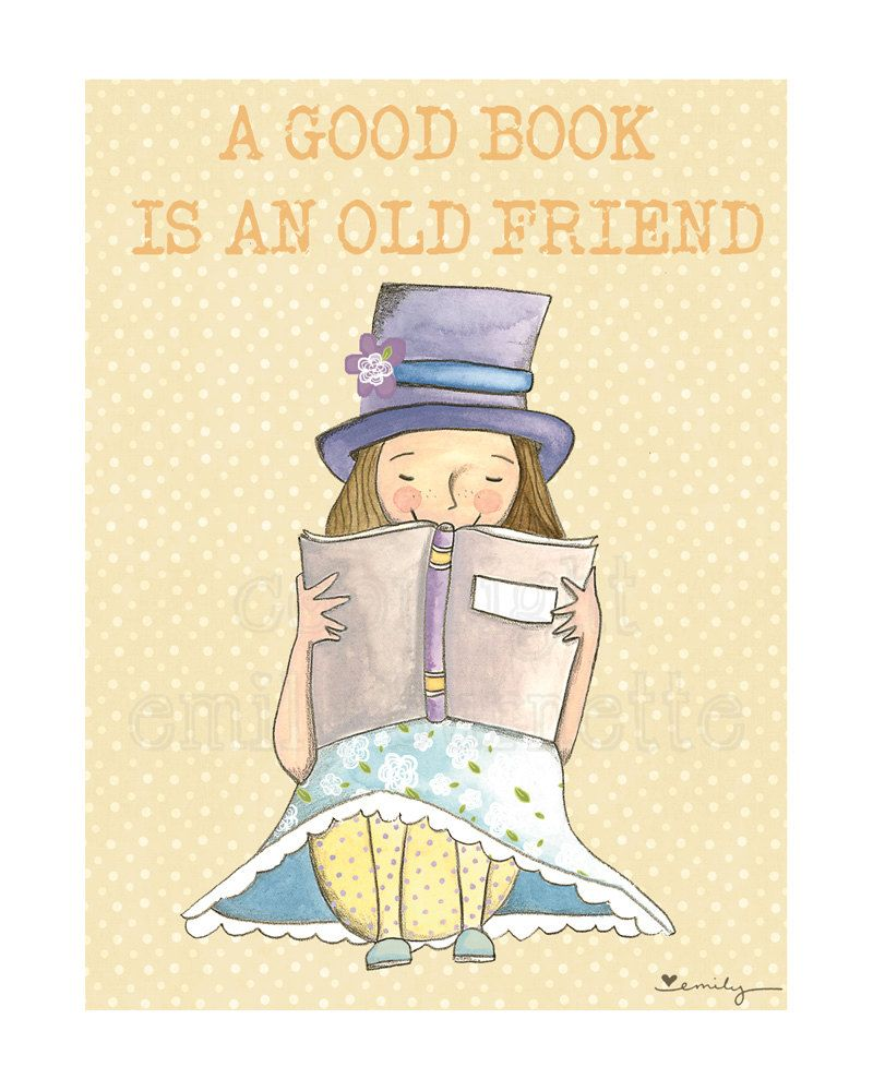 X print a good book is an old friend girls bedroom wall art