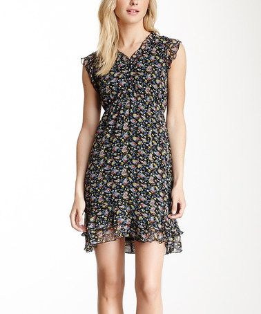 Another great find on #zulily! Black & Blue Floral Ruffle Angel-Sleeve Dress #zulilyfinds