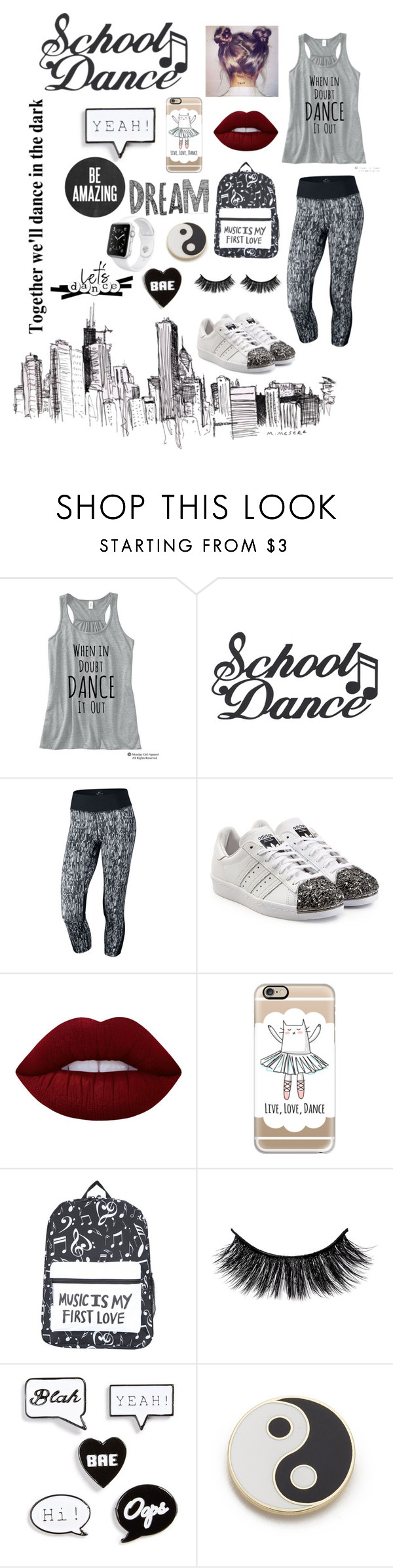 """Dance"" by carmengmgt ❤ liked on Polyvore featuring NIKE, adidas Originals, Lime Crime, Casetify, Topshop, Georgia Perry and Apple"