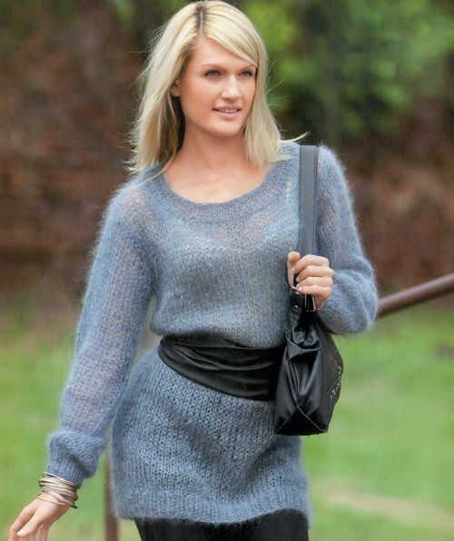 тонкий пуловер из мохера вязание спицами вязание свитер и
