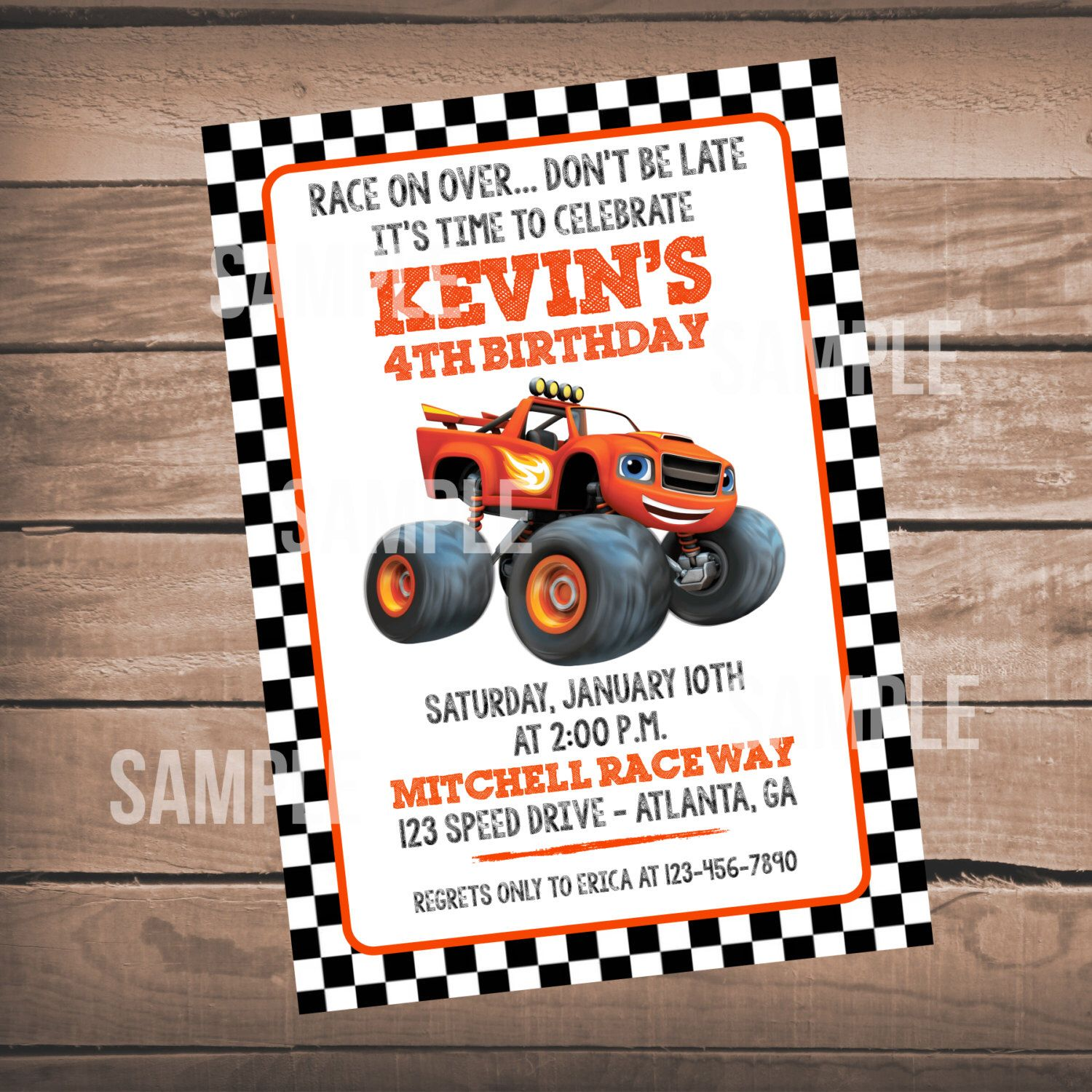 Blaze Birthday Party Invitation, Blaze and the Monster Machines ...