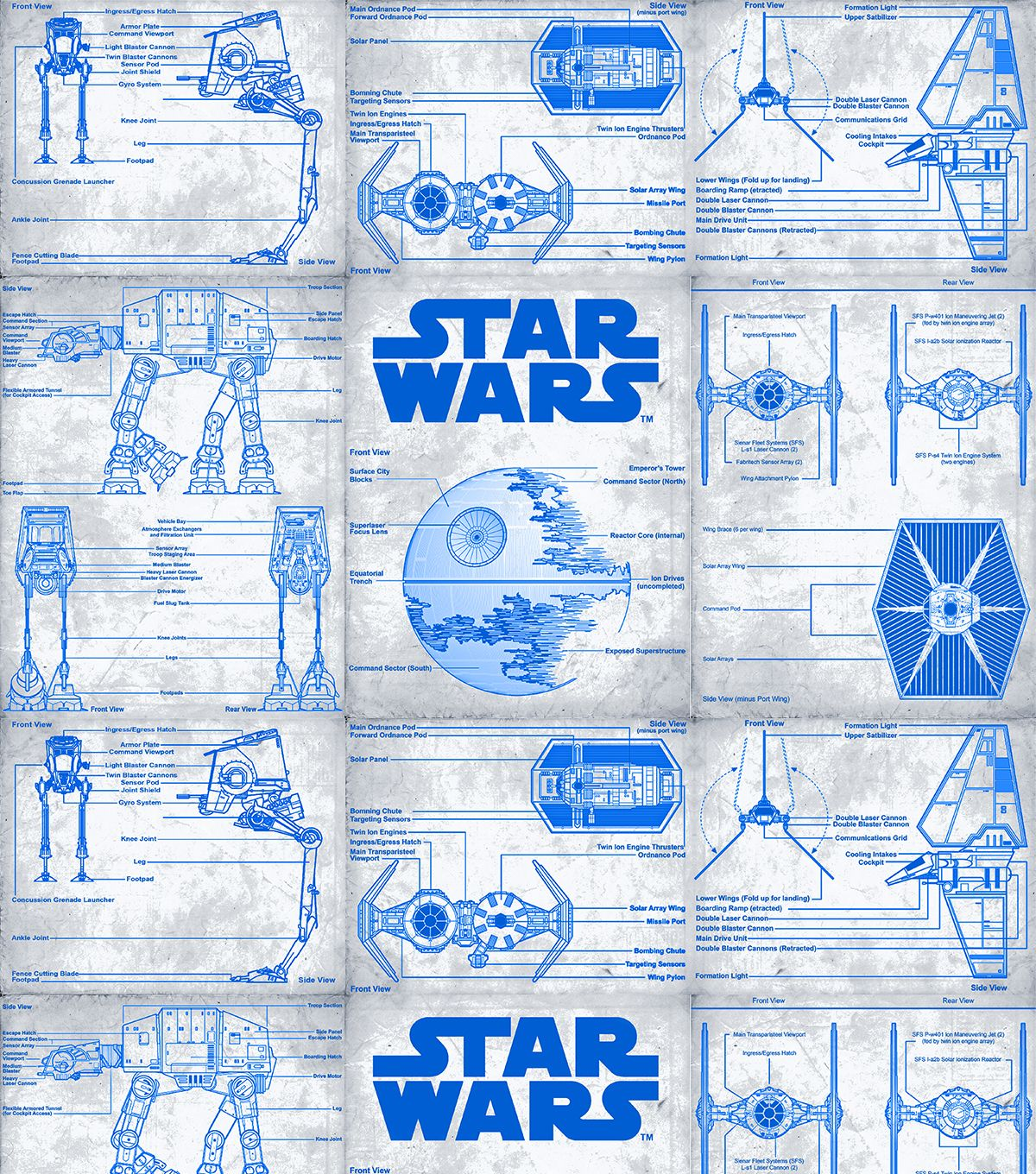 Star Wars Blueprint Cotton FabricStar Fabric DEATH STAR PLANS Need I Say More Ha