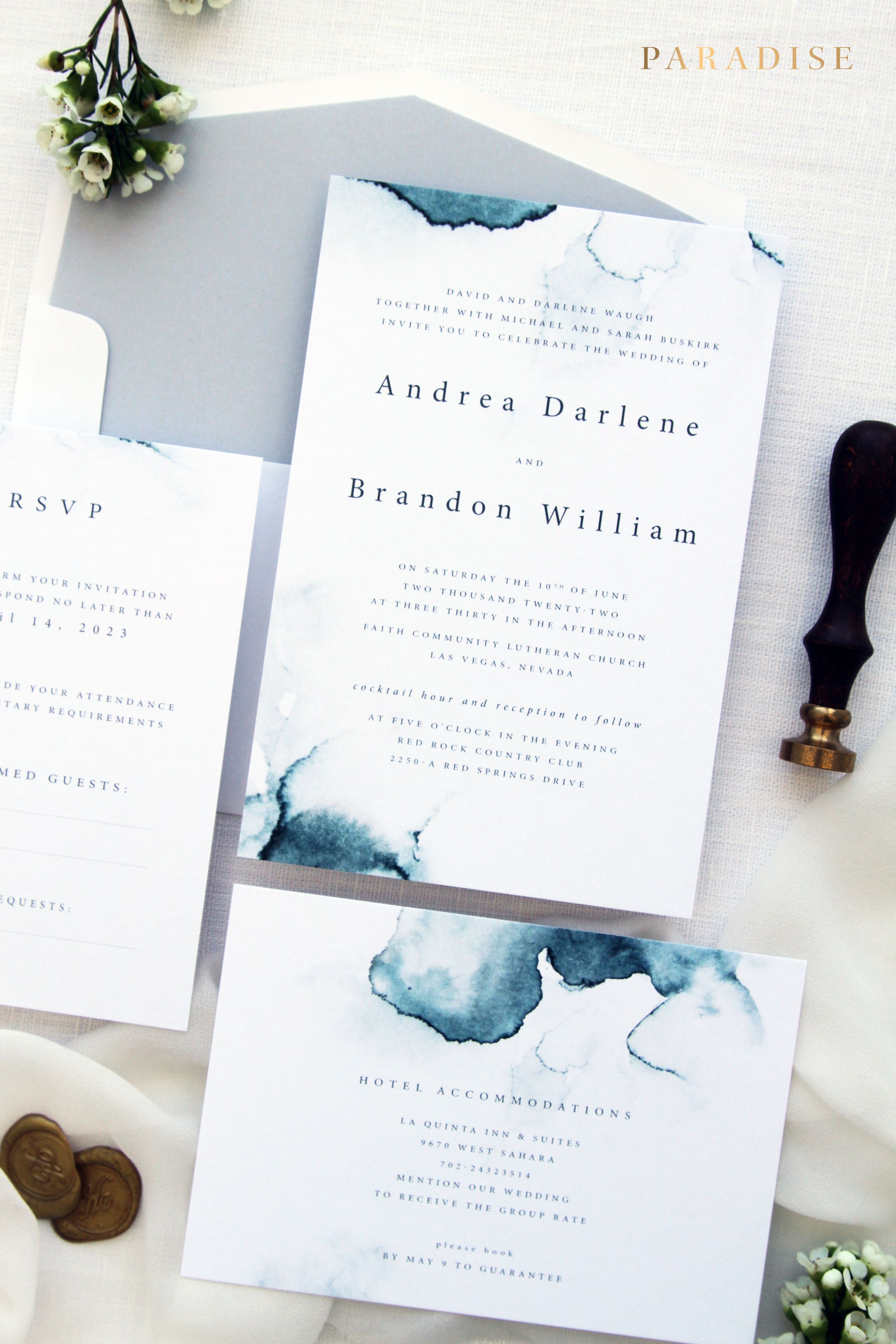 Zara 1 Wedding Invitation Sets Printable Invitations Or Printed Watercolour Ocean Blue