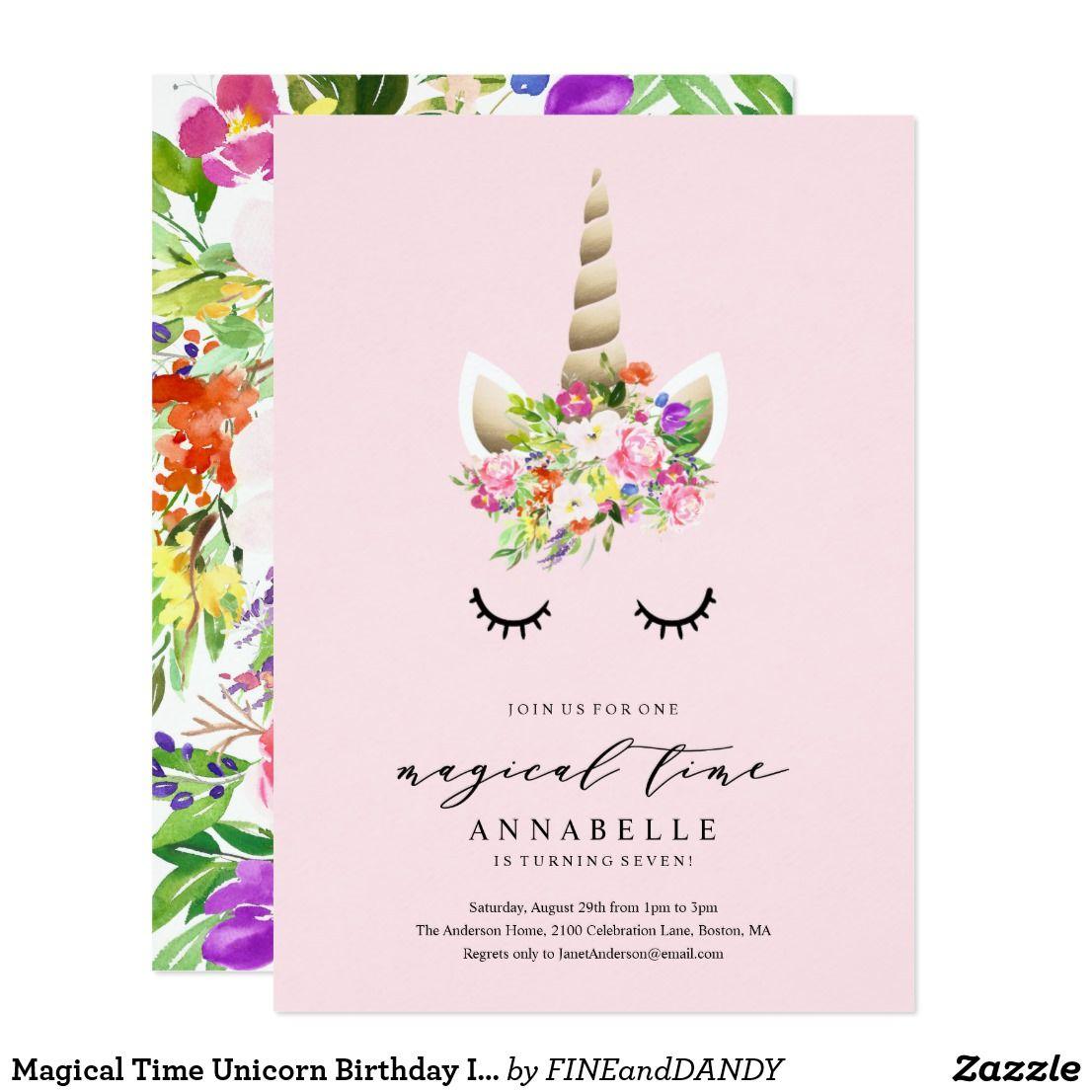 magical time unicorn birthday invitation in 2018 zazzle shop