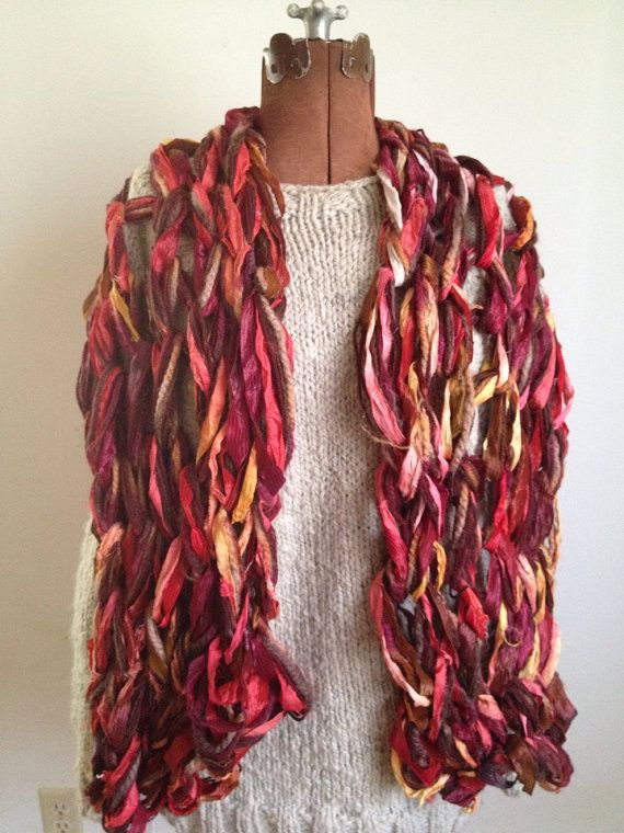 Sassy red shimmery wrap or scarf handknit by girlwithasword