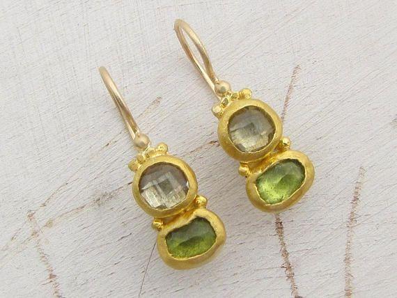 a5694fb698ad8 24k Gold Earrings for Women / Peridot Earrings / Pure Gold Earrings ...