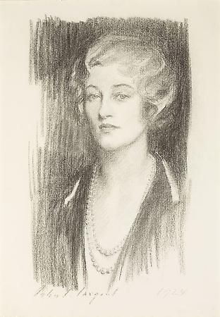 John Singer Sargent (1856-1925) Marie Louise Wanamaker, 1924 Charcoal on paper mounted on board 23 3/4 x 16 1/2 inches