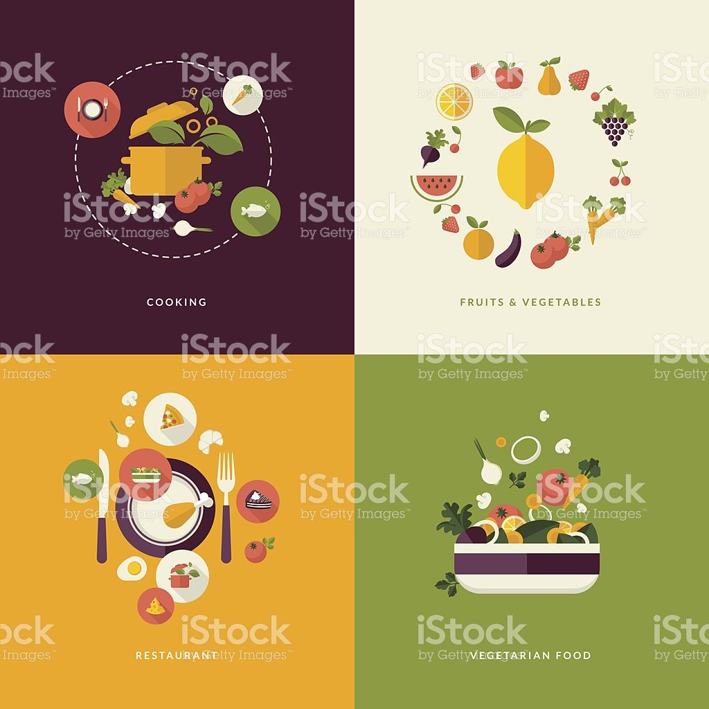 icons for cooking, fruits and vegetables, restaurant and