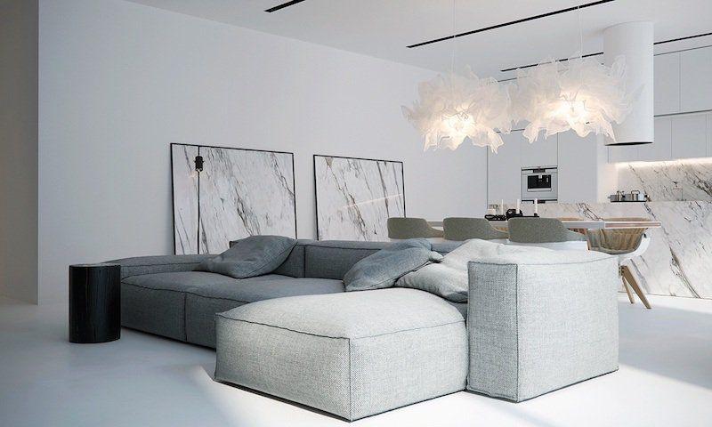Intérieur blanc - choisissez le minimalisme, oubliant la couleur