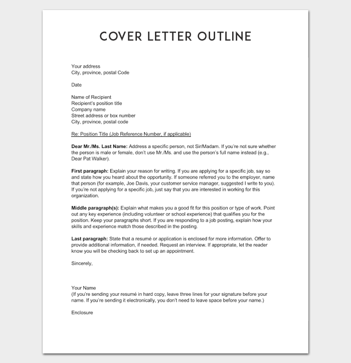 Cover Letter Outline Example  Outline Templates  Create A
