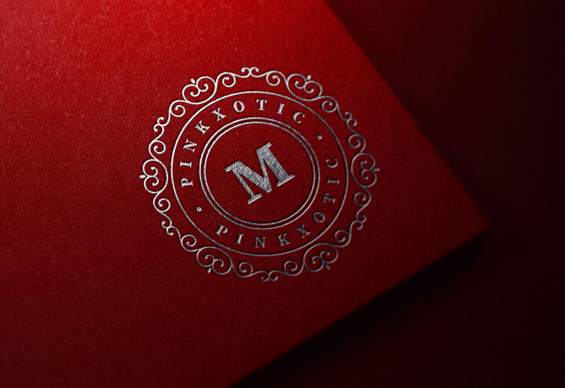 Luxury logo mockup on red paper in 2020 luxury logo