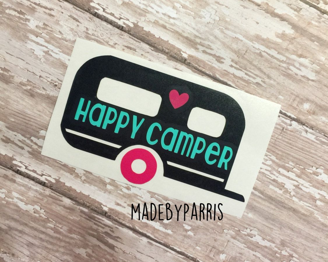 Happy Camper Vinyl Decal Camper Decal Camping Decal Car Decal - Custom vinyl decal application instructions pdfvinyl decor boutique simple things you should know and do before