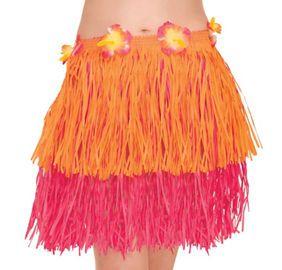 Child Orange Amp Pink Mini Hula Skirt 12in Party City Luau