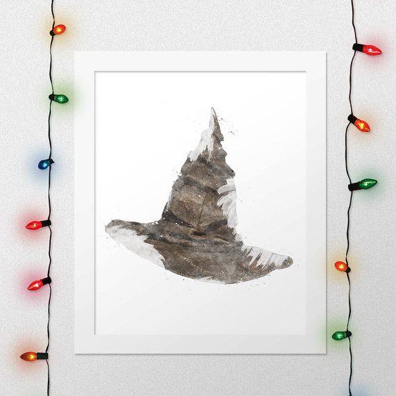 SORTING HAT PRINT, Sorting Hat, Harry Potter Hat, Hogwarts Print, Harry Potter, Deathly Hallows, Magic, Watercolor, Nursery, Digital File by xNoxyArt on Etsy