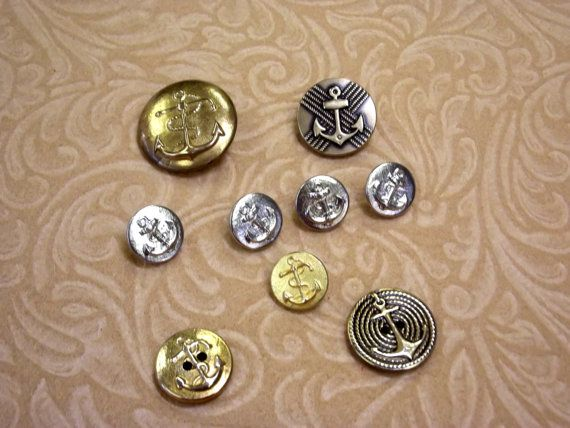 ANCHOR Buttons Various Designs Metal Sewing by SoraCreations,