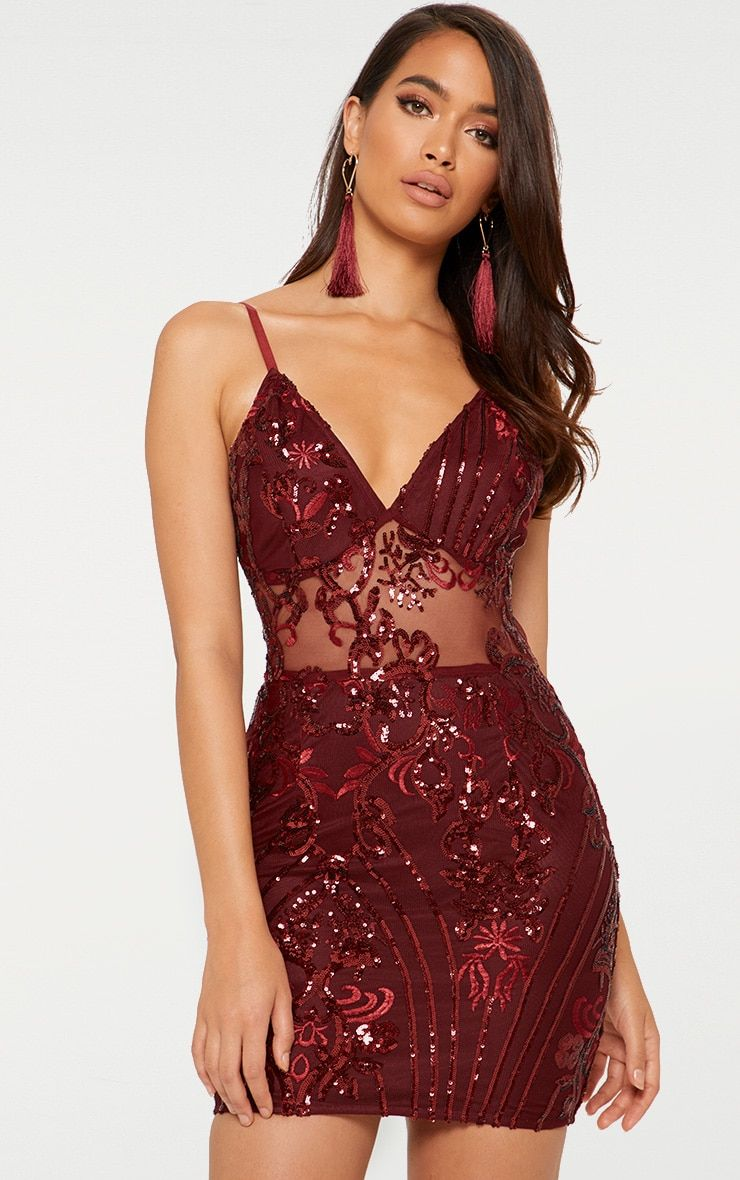 Burgundy strappy sheer panel sequin bodycon dress review