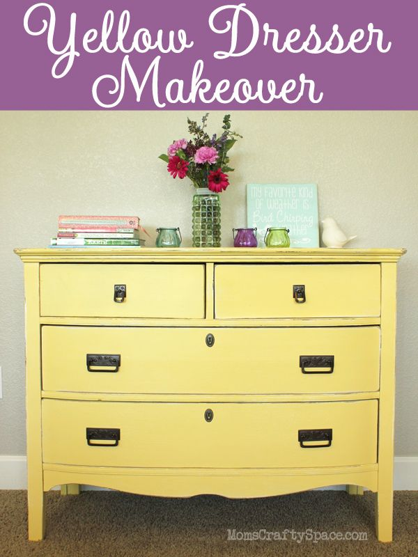 yellow painted vintage dresser makeover yellow painted dressers