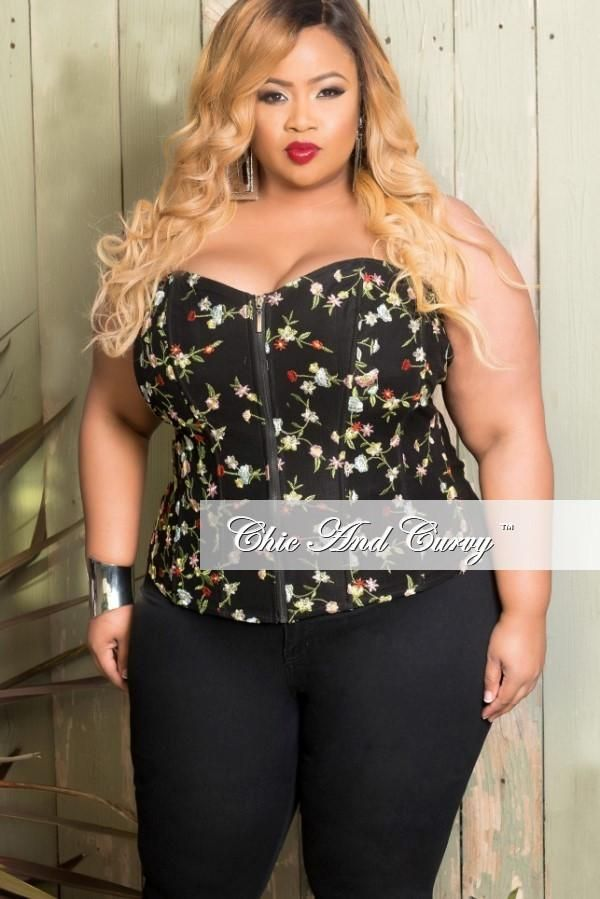 951904ac144 Final Sale Plus Size Corset in Black and Floral Embroidered Mesh in ...