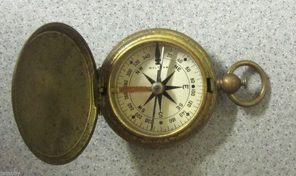 Vintage Waltham Us Brass Wwii Military Brass Pocket Compass Works Great Rare Compass Pocket Compass Waltham