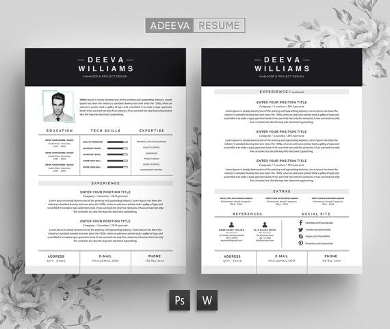 Resume Template Cv Template Cover Letter For Word By Adeevaresume