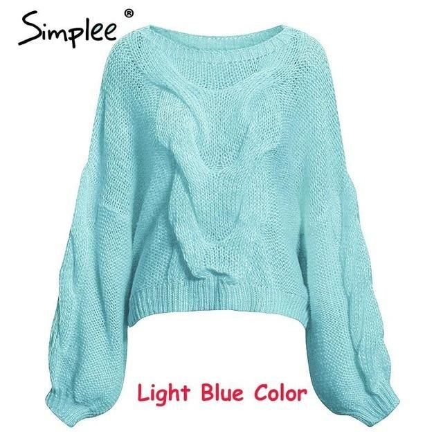 Simplee Hollow out mohair women pullover sweater Autumn winter lantern sleeve female orange sweater Oversize ladies jumper 2019 3
