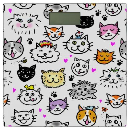 #Whimsical Cat Faces Pattern Bathroom Scale - #Bathroom #Accessories #home #living