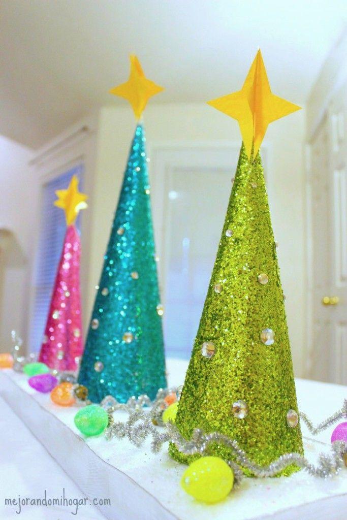 Centro de mesa con arbolitos de navidad manualidades - Centros navidad manualidades ...
