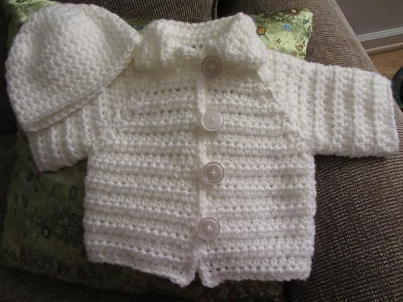 7418cfa66 Crochet Baby Sweater Set