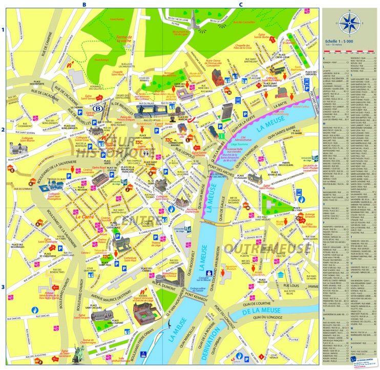 Lige city center map Maps Pinterest Belgium and City
