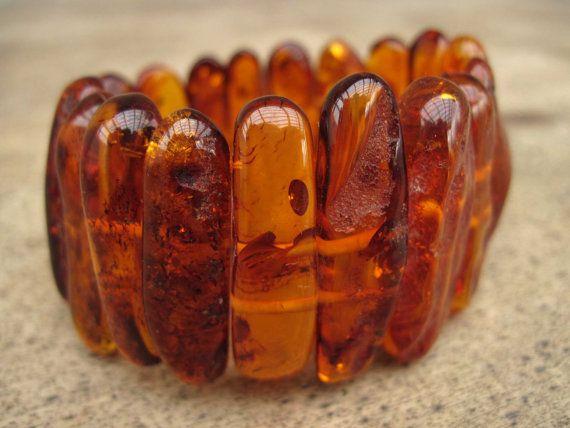 Honey Baltic Amber Bracelet Stretch Cuff OOAK Big by DreamsFactory, $130.00