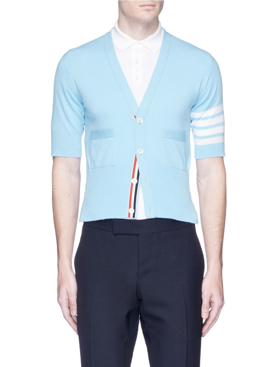 THOM BROWNE Stripe Short Sleeve Cashmere Cardigan. #thombrowne ...