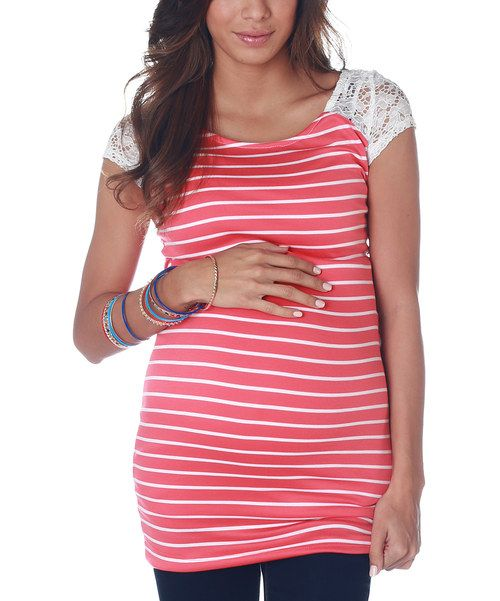 Take a look at this Coral & White Stripe Crocheted Maternity Top on zulily today!