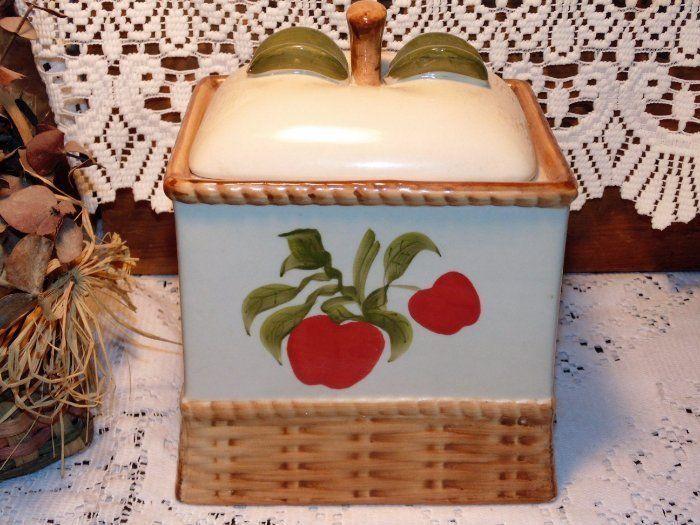 Vintage Cookie Jar, Apples, Kitchen Canister, Kitchen Storage, Square  Shaped Jar