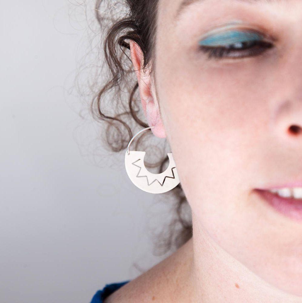 19eeb1cfe Circular earrings, modern jewelry, boho jewelry, sterling silver, handmade  jewelry, different finishes. de atmapu en Etsy