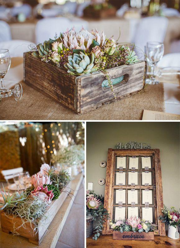 Flores de boda protea centro mesa seating plan caja - Mesas hechas con cajas de madera ...