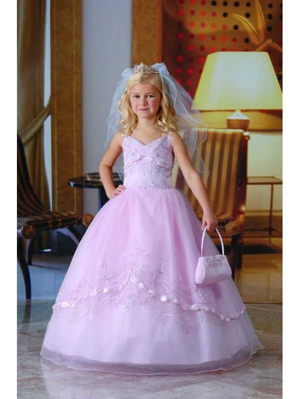Spaghetti Straps Floor-length Beaded Organza Satin Ball Gown Flower ...