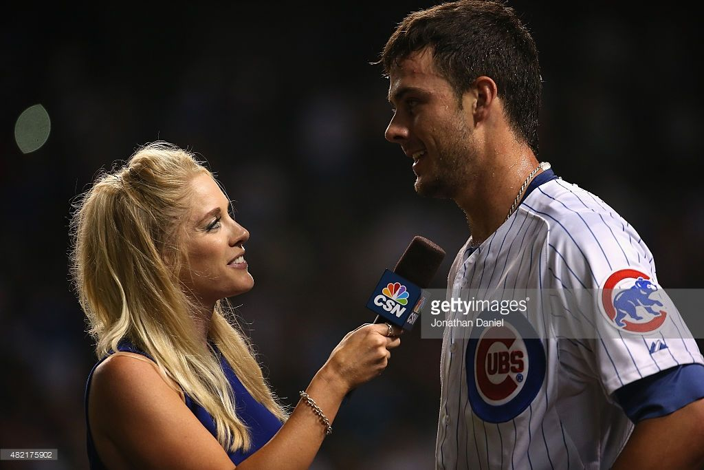 Kelly Crull of Comcast Sports interviews Kris Bryant of