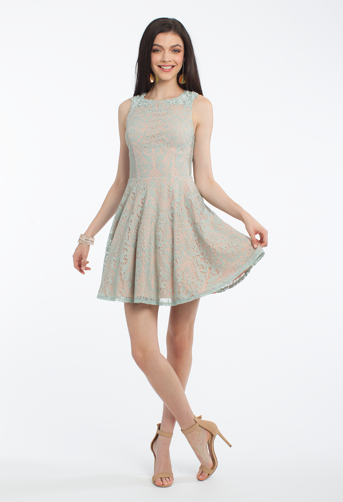This party dress is elegance defined! With its two tone lace pattern ...