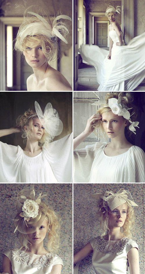 wedding fascinators and hats from British designer Jane Taylor Millinery via JunebugWeddings.com