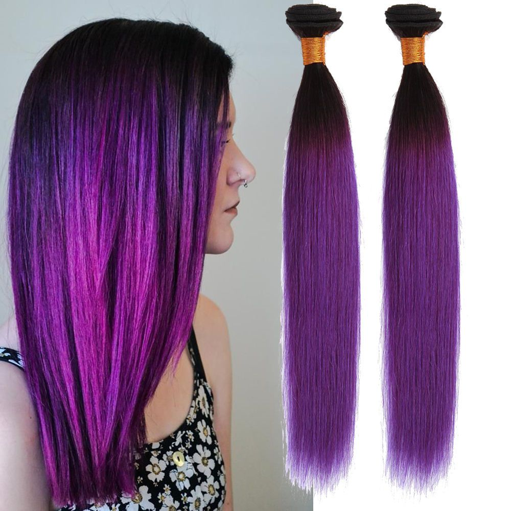 Stylish Straight Real Human Hair Extension Purple Ombre Brazilian
