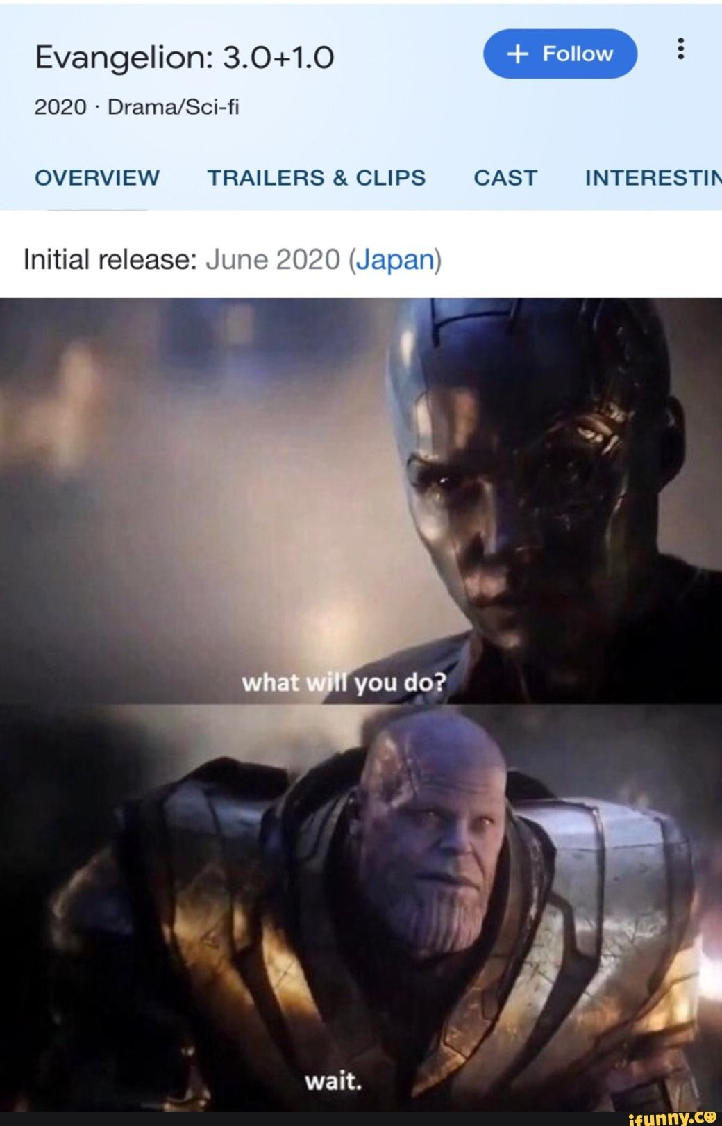 Evangelion 3 0 1 0 Overview Trailers Clips Cast Interesti Initial Release June 2020 Japan Ifunny Memes Seriously Funny Marvel