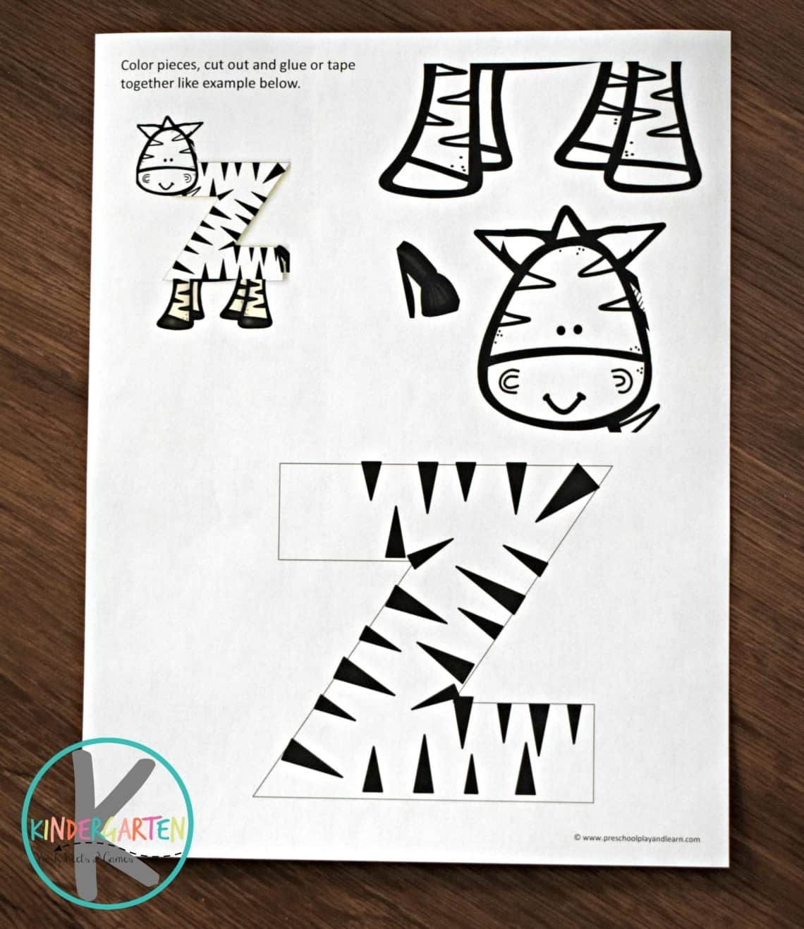 Free Printable Letter Z Craft Of A Zebra Perfect