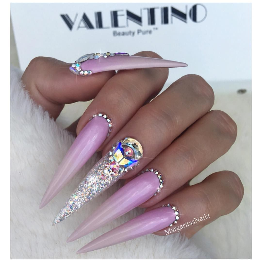 Lavender Ombré Stilettos Swarovski Bling Nails Glitter nail art ...