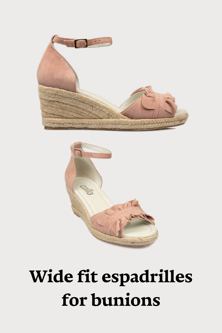 b35f007739f20 Blush pink suede espadrille wedges, designed in a wide fit for women with  bunions