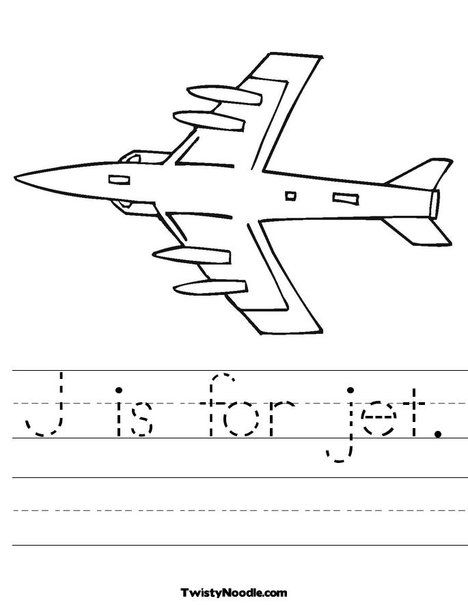 J Is For Jet Coloring Page
