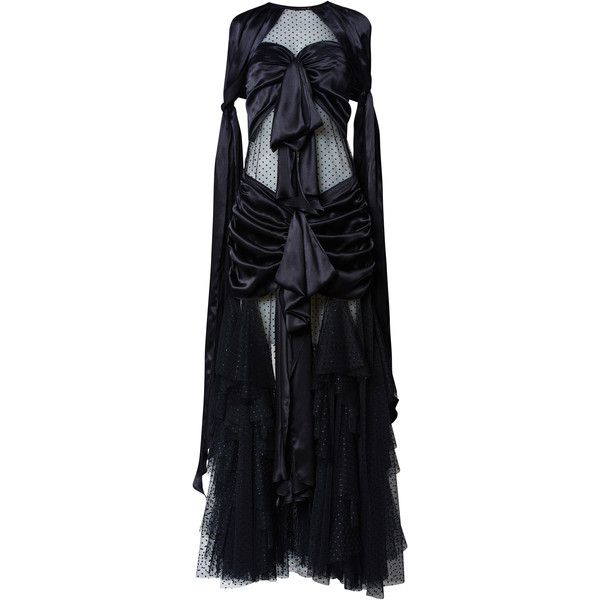 Romance Was Born Bad Girls Bow Gown ($1,065) ❤ liked on Polyvore featuring black