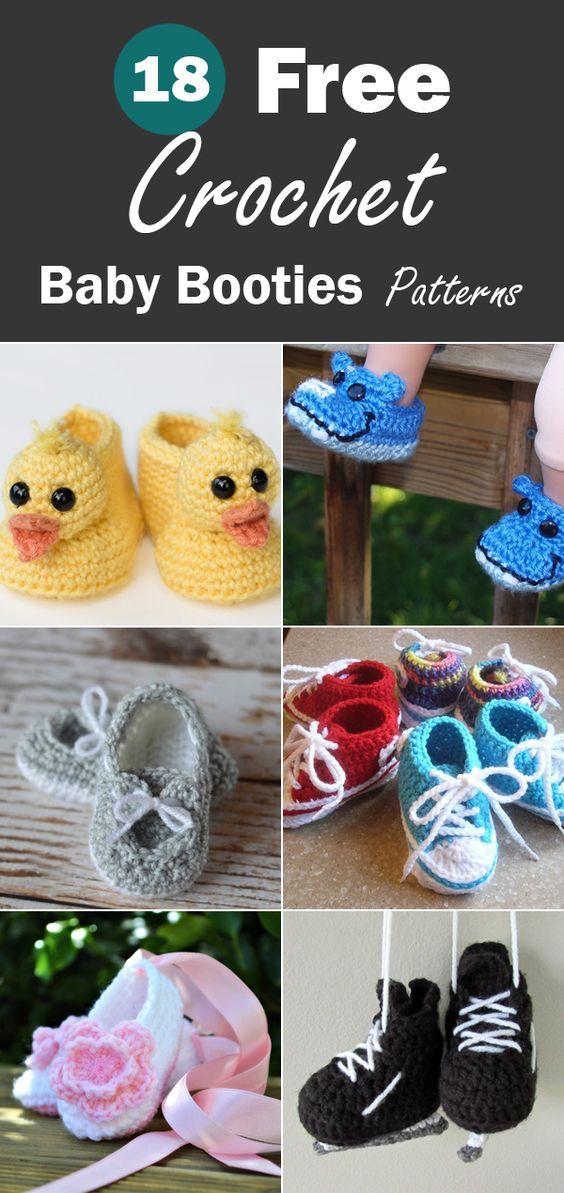 18 Free Crochet Baby Booties Patterns Crochet Queen Pinterest